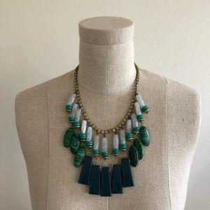 Anthropologie Green Equatorial Fringe Bib Necklace